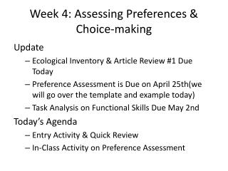 Week 4: Assessing Preferences & Choice-making