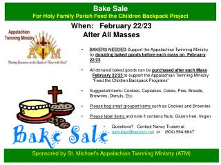 Sponsored by St. Michael's  Appalachian Twinning Ministry (ATM)