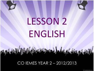 LESSON 2 ENGLISH