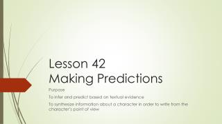 Lesson 42  Making Predictions