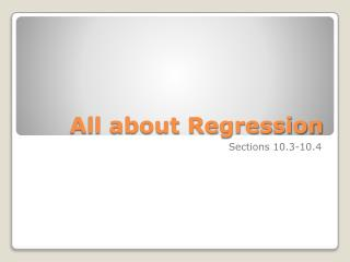 All about Regression