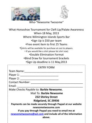 "Who-""Newsome Twosome "" What-Horseshoe Tournament for Cleft Lip/Palate Awareness"