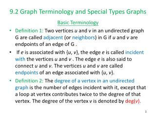 9.2 Graph Terminology and Special Types Graphs