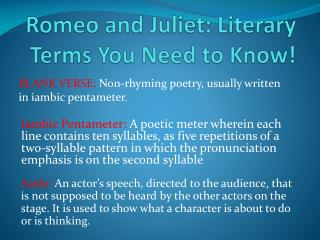 Romeo and Juliet: Literary Terms You Need to Know!