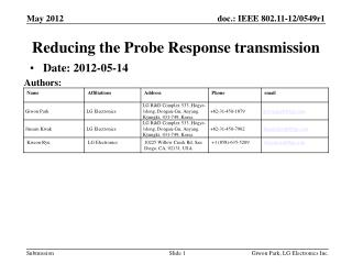 Reducing the Probe Response transmission