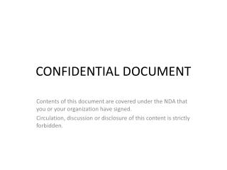 CONFIDENTIAL DOCUMENT
