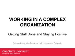 WORKING IN A COMPLEX ORGANIZATION