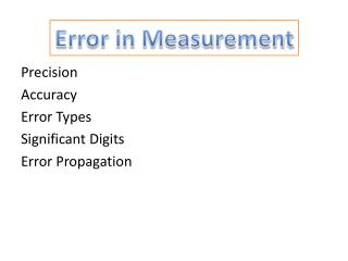 Error in Measurement
