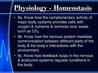 Physiology - Homeostasis