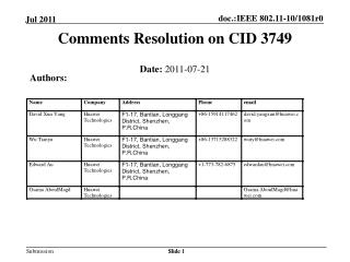 Comments Resolution on CID 3749