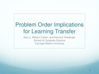 Problem Order Implications for Learning Transfer