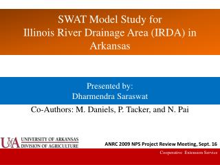 SWAT Model Study for Illinois River Drainage Area (IRDA) in Arkansas
