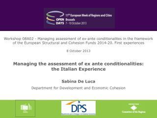 Sabina De Luca Department for Development and Economic Cohesion