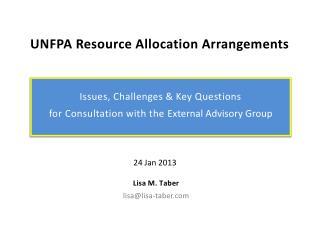 UNFPA Resource Allocation Arrangements