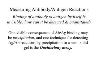 Measuring Antibody/Antigen Reactions