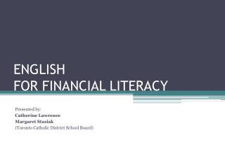 ENGLISH  FOR FINANCIAL LITERACY