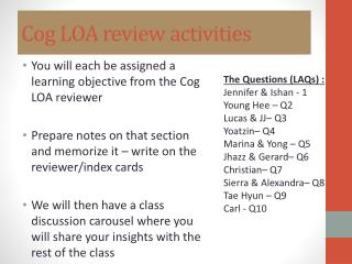 Cog LOA review activities