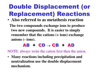 Double Displacement or Replacement Reactions