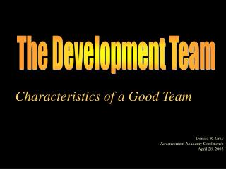 Characteristics of a Good Team