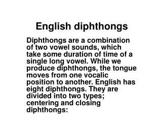English diphthongs