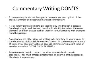 Commentary Writing DON'TS