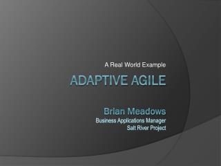 Adaptive aGile Brian Meadows Business Applications Manager Salt River Project