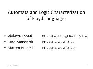 Automata and Logic  C haracterization of Floyd  Languages