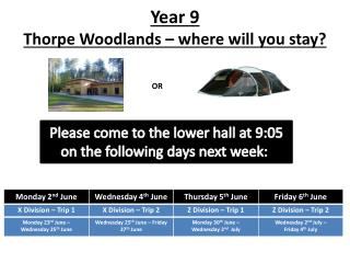 Year 9 Thorpe Woodlands –  where  will you stay?