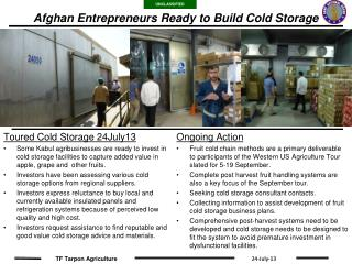 Afghan Entrepreneurs Ready to Build Cold Storage