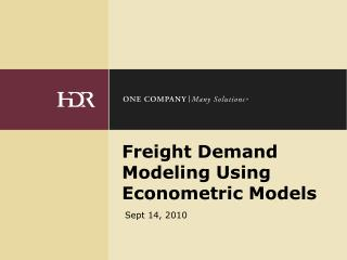 Freight Demand Modeling Using Econometric Models