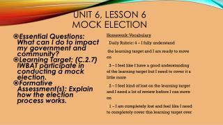 Unit 6, Lesson 6 Mock election