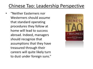 Chinese Tao:  Leadership  Perspective