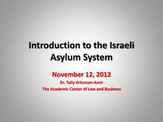 Introduction to the Israeli Asylum System