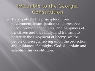 Preamble to the Georgia Constitution