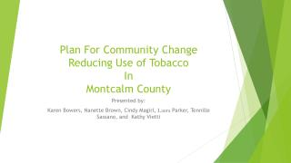 Plan For Community Change Reducing Use of Tobacco In Montcalm County