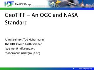 GeoTIFF – An OGC and NASA Standard