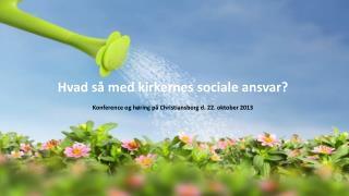 Hvad så med kirkernes sociale ansvar? Konference og høring på Christiansborg d. 22. oktober 2013