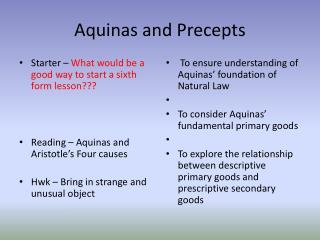 Aquinas and Precepts