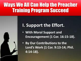 Ways We All Can Help the Preacher Training Program Succeed