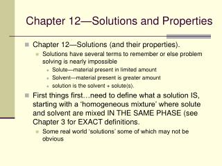 Chapter 12 Solutions and Properties