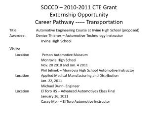 SOCCD – 2010-2011 CTE Grant  Externship Opportunity  Career Pathway ----- Transportation