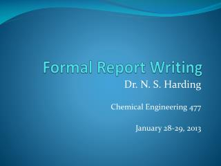 Formal Report Writing