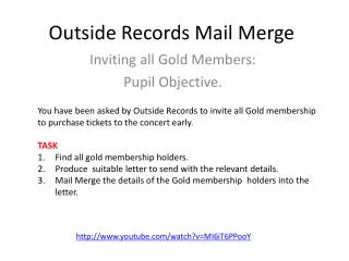 Outside Records Mail  Merge