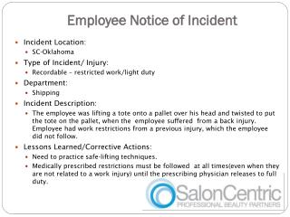 Employee Notice of Incident