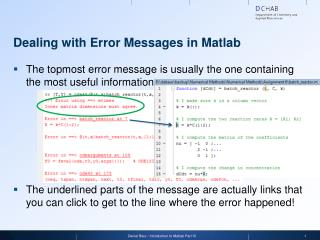 Dealing with  Error Messages in Matlab