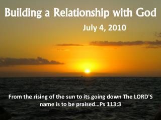 Building a Relationship with God