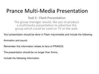 Prance Multi-Media Presentation