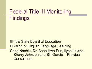 Federal Title III Monitoring Findings