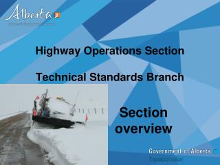 Highway Operations Section Technical Standards Branch