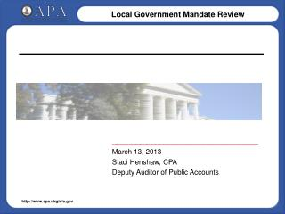 _____________________________________ March 13, 2013 Staci Henshaw, CPA